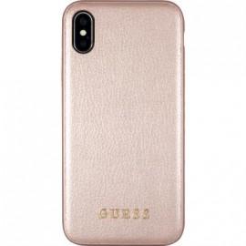 Coque iPhone X rigide Guess Iridescent rose doré