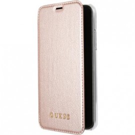 Etui iPhone X folio Guess rose
