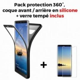 Coque Samsung galaxy Note 8 N950 silicone 360° + film en verre trempé