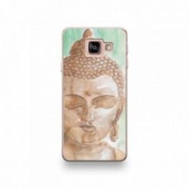 Coque Wiko Harry motif Buddha Marron Fond Vert