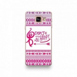 Coque Wiko Harry motif Don't Worry Be Happy Rose Fond Blanc