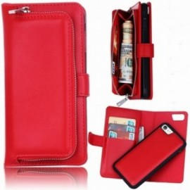 Etui Iphone 7/8 folio porte monnaie + coque rouge