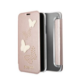 Etui iPhone X folio Guess papillons rose gold