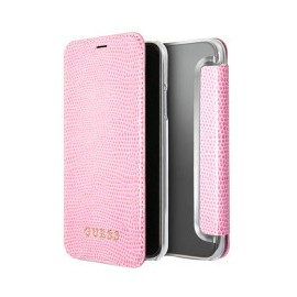 Etui iPhone X folio Guess rose gold