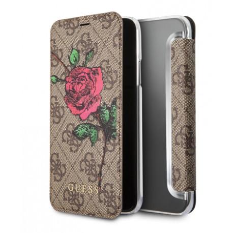 Etui iPhone 7 / iphone 8 folio Guess flower 4G marron