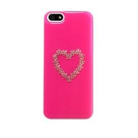 Coque  iphone 4/4s Swarovski coeur fond rose