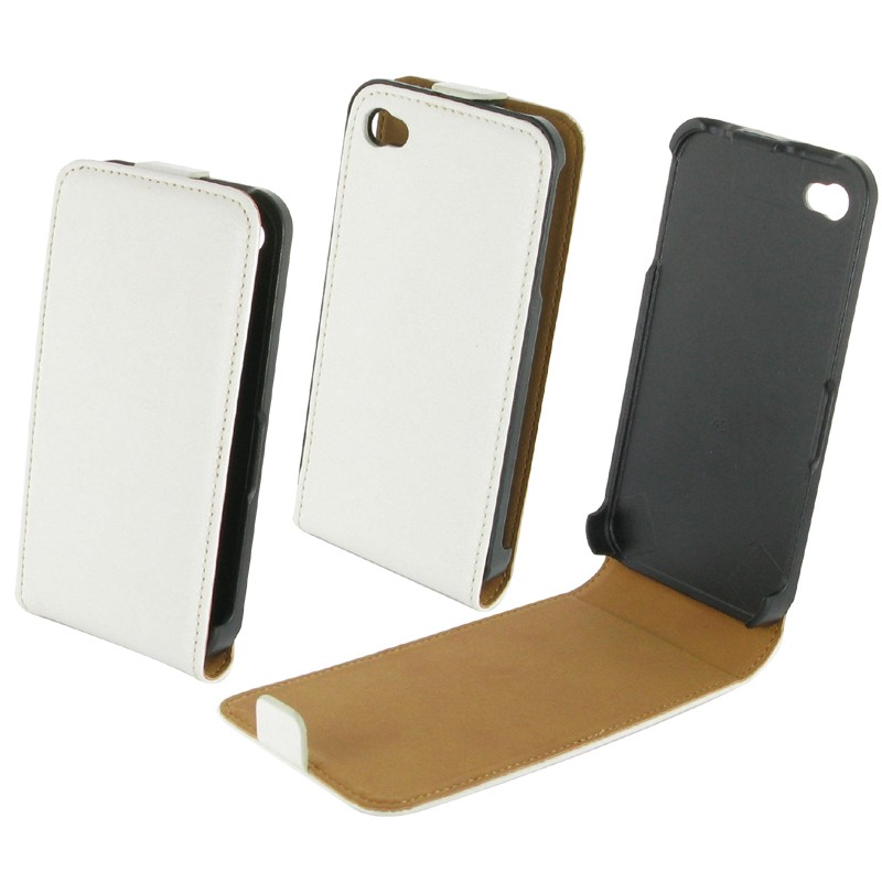 Housse iphone 4 cuir blanc destination telecom for Iphone housse cuir
