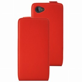 Etui Flip Ucall Houston aspect cuir rouge