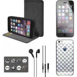"""Pack iPhone 6/6s protections et musique """"noir"""""""