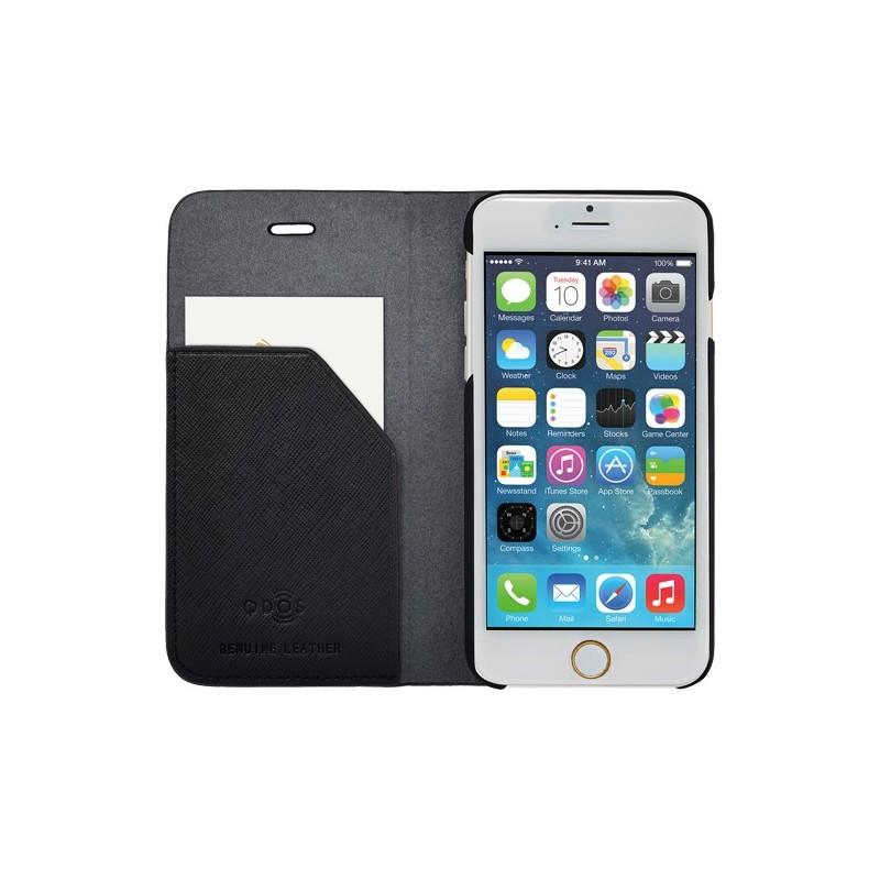 etui iphone 6 6s folio qdos en cuir noir destination telecom. Black Bedroom Furniture Sets. Home Design Ideas