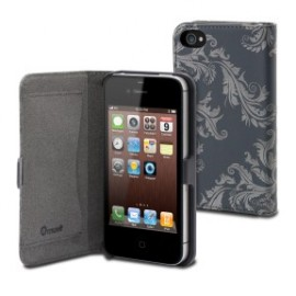 Etui iPhone 4/4S Folio Naprel Gris Motif Baroque