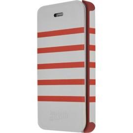 Etui iPhone 5c Marinière Jean Paul Gaultier blanc rouge