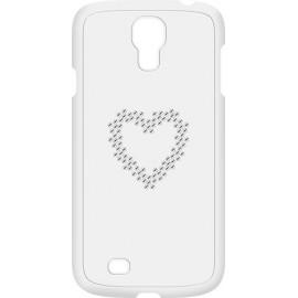 Coque Samsung Galaxy S4 I9500 Swarovski blanche motif coeur