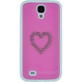 Coque Samsung Galaxy S4 I9500 Swarovski rose motif coeur