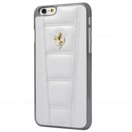 Coque iphone 6 plus / 6s plus Ferrari matelassé cuir Blanc