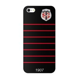 Coque Iphone 5 / 5s / SE Stade Toulousain Noire Lisseret rouge