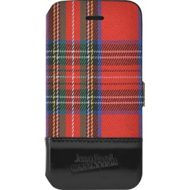 Etui iPhone 5 / 5s / SE Folio Tartan rouge Jean Paul Gaultier