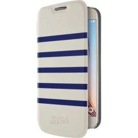 Etui Samsung Galaxy S6 folio Marinière blanche et bleue Jean Paul Gaultier