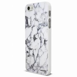 Coque iphone 5 / 5S / SE rubber marbre blanc