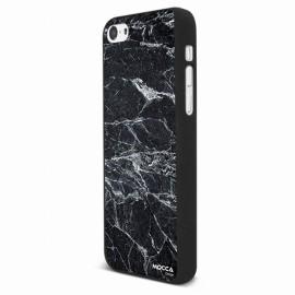 Coque iphone 5C rubber marbre noir