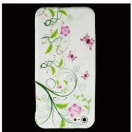 Coque iphone 5 / 5s / SE silicone fleurs et papillons