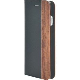 Etui iPhone 6 / 6S folio bi-matière en cuir et bois