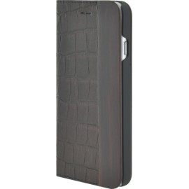 Etui iPhone 6 / 6S folio bi-matière cuir marron finition croco et bois