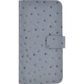 Etui iPhone 6 / 6S folio en cuir gris façon Autruche