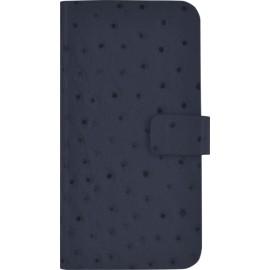 Etui iPhone 6 / 6S folio en cuir bleu façon Autruche