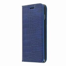 Etui iphone 6 plus / 6s plus folio croco bleu
