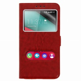 Etui Wiko Tommy Folio vision rouge