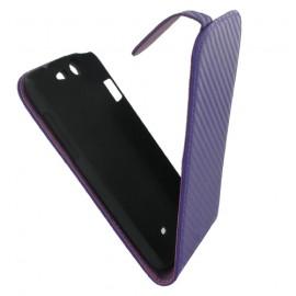 Etui Wiko Stairway aspect carbone violet
