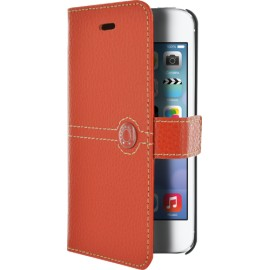 Etui Faconnable iphone 5 / 5s / SE folio orange grainé