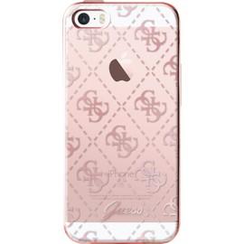 Coque iPhone 5 / 5s / SE Guess transparente et rose doré semi-rigide