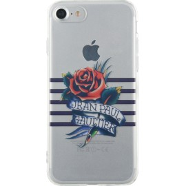 Coque iPhone 7 Jean Paul Gaultier Marinière bleue et impression tatoo