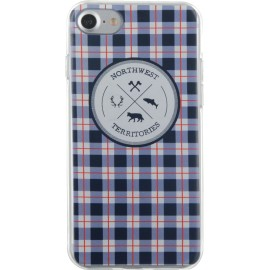 Coque iPhone 7 North West souple bleue motifs à carreaux de Bigben