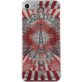 Coque iPhone 7 Jean Paul Gaultier Tour Eiffel rouge et blanche