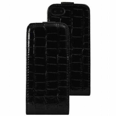Etui iPhone 5 / 5s / SE flip noir Glossy façon croco