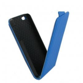 Etui iphone 5 / 5s / SE aspect carbone bleu