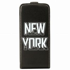 Etui iPhone 5 / 5s / SE flip noir motif New York