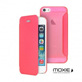Etui iphone 5 / 5s / SE folio cover ultra fin rose de moxie