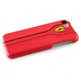 Coque iphone 7 Ferrari Racing aspect carbone rouge