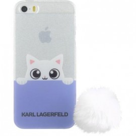 Coque iPhone 5 / 5S / SE Karl Largerfeld transparente et mauve