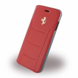 Etui iphone 7 Ferrari folio cuir rouge logo Argent