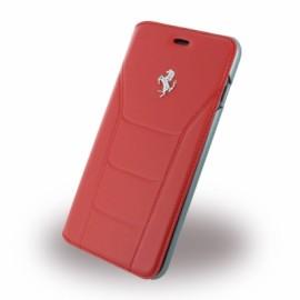 Etui iphone 7 plus Ferrari 488 folio cuir rouge logo Argent