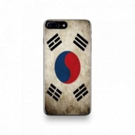 Coque  iPhone 7 Plus Silicone motif Drapeau Corée Du Sud Vintage