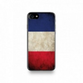 Coque  iPhone 7 Silicone motif Drapeau France Vintage