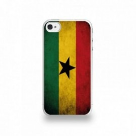 Coque  iPhone 4/4S Silicone motif Drapeau Ghana Vintage
