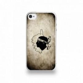 Coque  iPhone 4/4S Silicone motif Drapeau Corse Vintage
