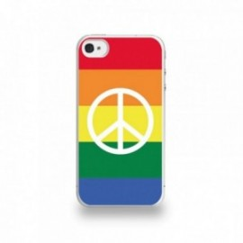 Coque  iPhone 4/4S Silicone motif Peace Drapeau Gay
